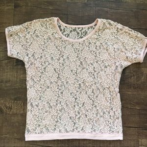 Tops - Pink floral lacey top